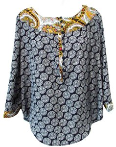 Patterson J. Kincaid Tunic Casual Geometric Colorful Top Navy Multicolor