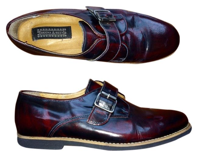 Item - Oxblood Red Brushed Patent Leather Oxfords with Buckle Top Shop Flats Size US 9 Regular (M, B)