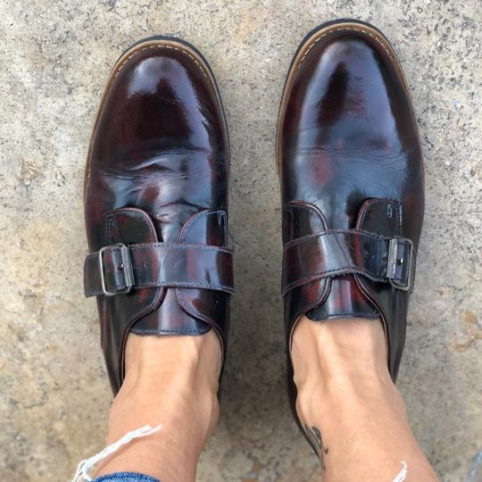 Deena & Ozzy Vintage Oxford Boyfriend Buckle Leather Loafer Topshop Patent Leather Oxblood Red Flats Image 1