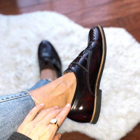 Deena & Ozzy Vintage Oxford Boyfriend Buckle Leather Loafer Topshop Patent Leather Oxblood Red Flats Image 2