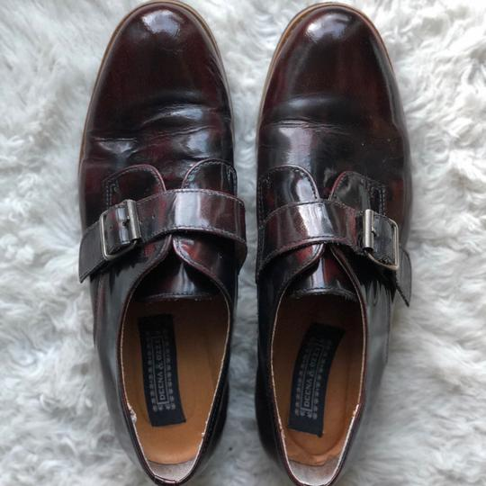 Deena & Ozzy Vintage Oxford Boyfriend Buckle Leather Loafer Topshop Patent Leather Oxblood Red Flats Image 3