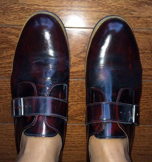 Deena & Ozzy Vintage Oxford Boyfriend Buckle Leather Loafer Topshop Patent Leather Oxblood Red Flats Image 4