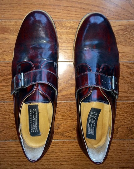 Deena & Ozzy Vintage Boyfriend Buckle Leather Loafer Topshop Patent Leather Oxblood Red Flats