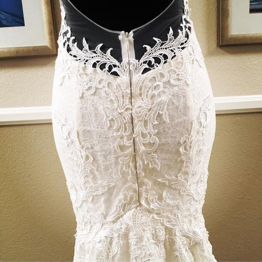 White Light Ivory Lace Organza Chiffon Illusion Net Low Back 8/10 Mermaid Plunging Sexy Wedding Dress Size 8 (M)