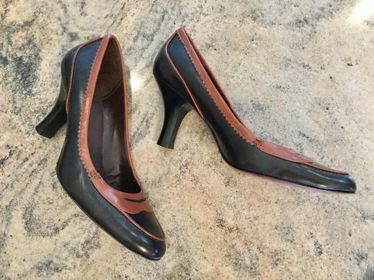 Circa Joan & David Two-tone Spectator Penny Loafers Genuine Leather Vintage Black and Brown Pumps