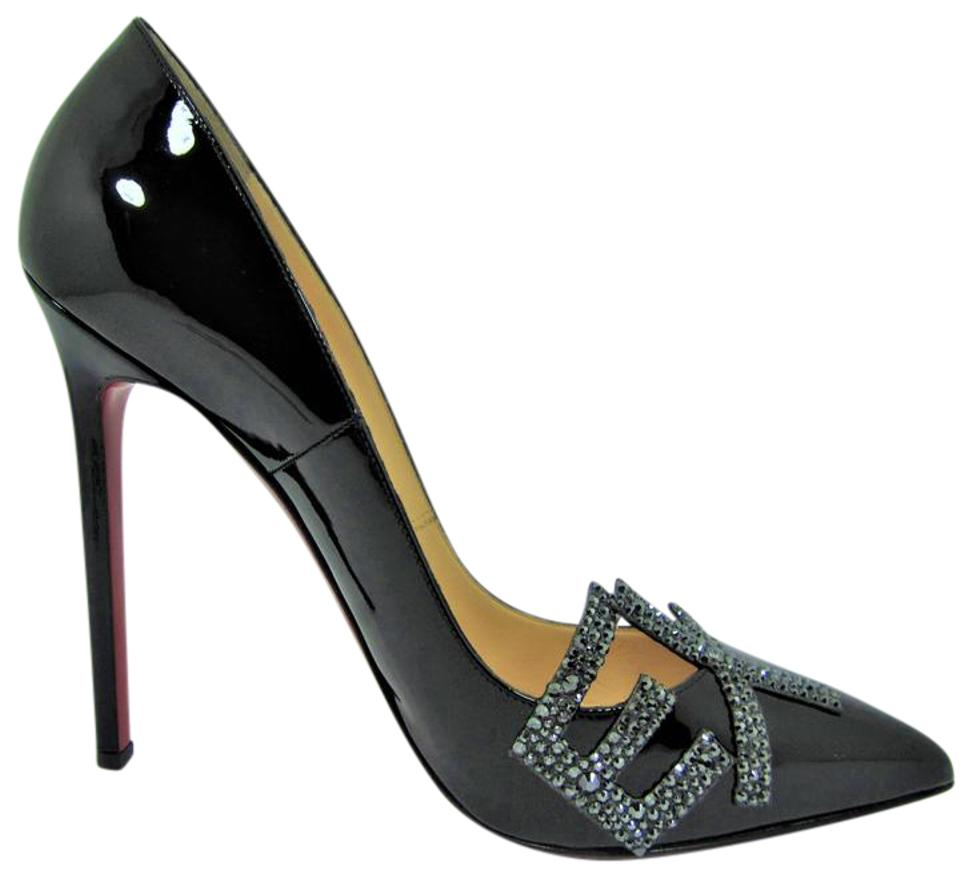 wholesale dealer 03a78 97fe4 Christian Louboutin Black Sex Pigalle Patent Strass High Heel Red Sole Lady  Fashion Toe Pumps Size EU 39 (Approx. US 9) Regular (M, B)