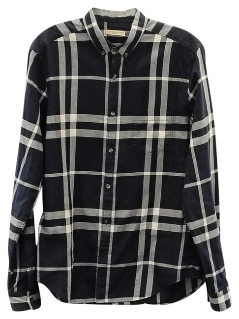 Preload https://item4.tradesy.com/images/burberry-brit-blue-navy-plaid-shirt-button-down-top-size-10-m-21571808-0-2.jpg?width=400&height=650