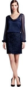 Aidan Mattox Blouson Long Sleeve Lace Dress