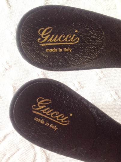 Gucci Good Condition Box/Bags Leather Sole Bamboo Stacked Heel Black Sandals