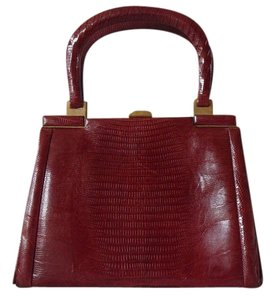 Lopez (Buenos Aires, Argentina) Vintage Brass Trimmed Satchel in tanager lizard