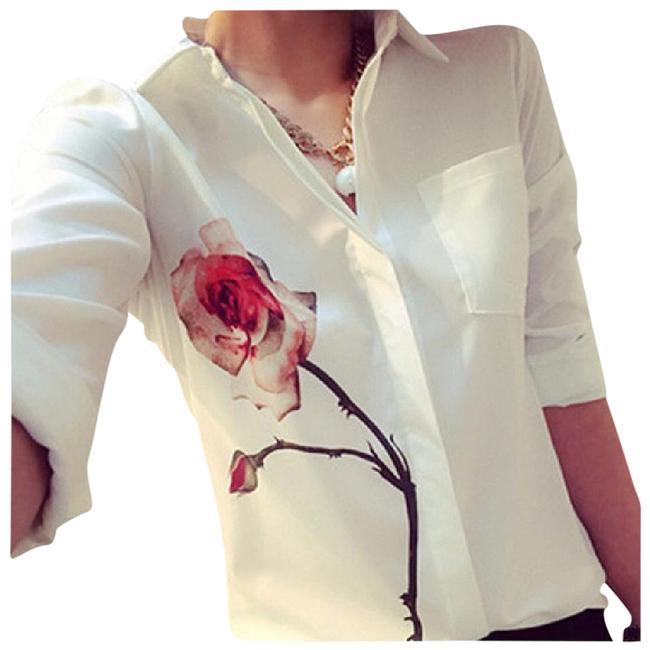 Other Flower Aceent Top White