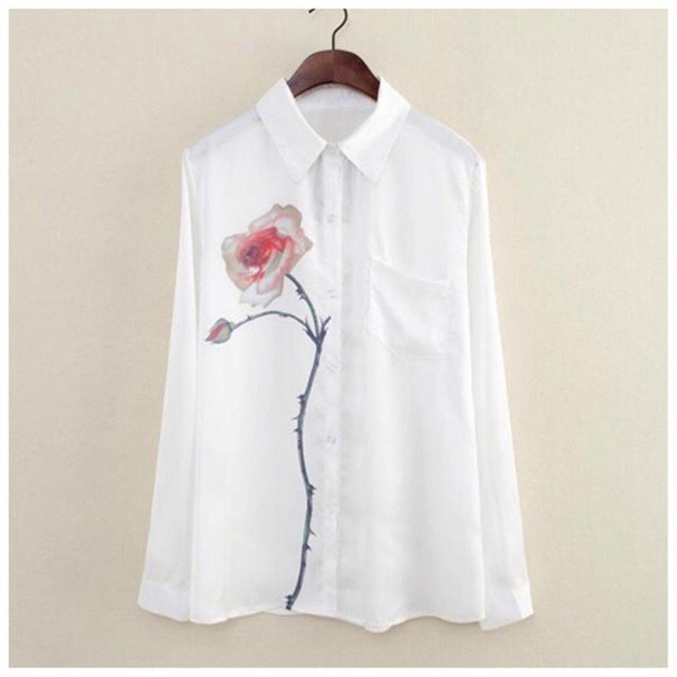 White flower accent d40 blouse size 6 s tradesy other flower aceent top white 12345 mightylinksfo