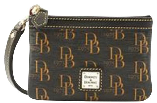 Item - Signature Black and Gold Coated Canvas/Leather Wristlet