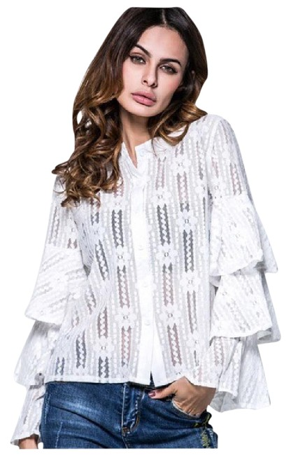Preload https://item3.tradesy.com/images/white-weave-layered-ruffle-sleeve-da32-blouse-size-8-m-21572097-0-1.jpg?width=400&height=650