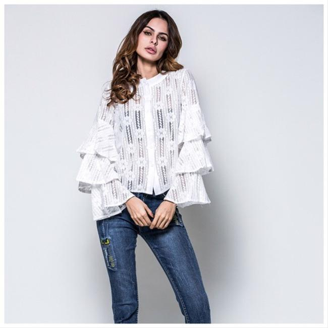 Other Weave Layered Ruffle Top White