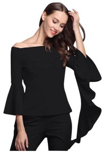 Other Dramatic Ruffle Flare Sleeve. Top Black