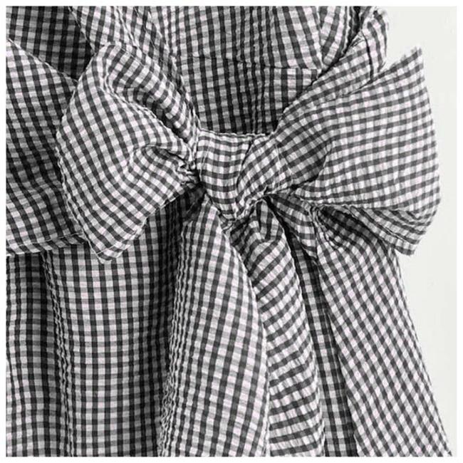 Other Gingham Checkered Bow Deep V Top Black