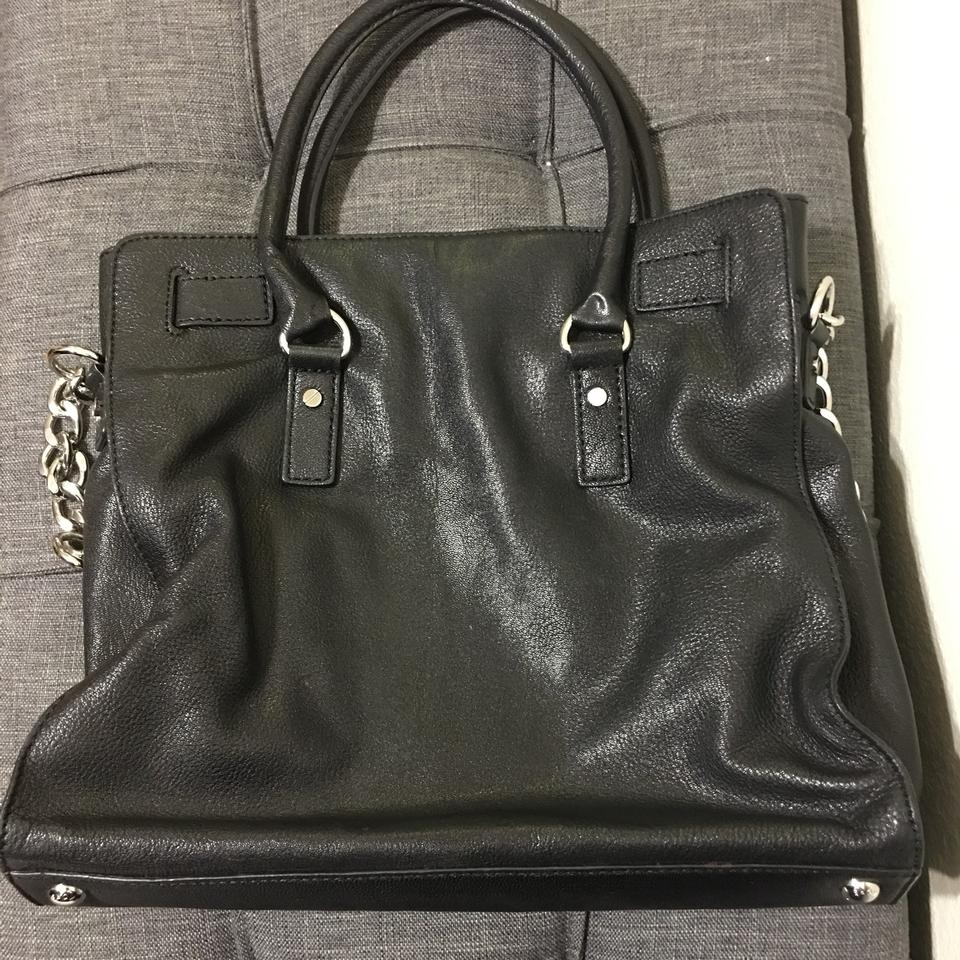 524472e969fd Michael Kors Hamilton Chain Large with Silver Hardware Black Leather Tote -  Tradesy