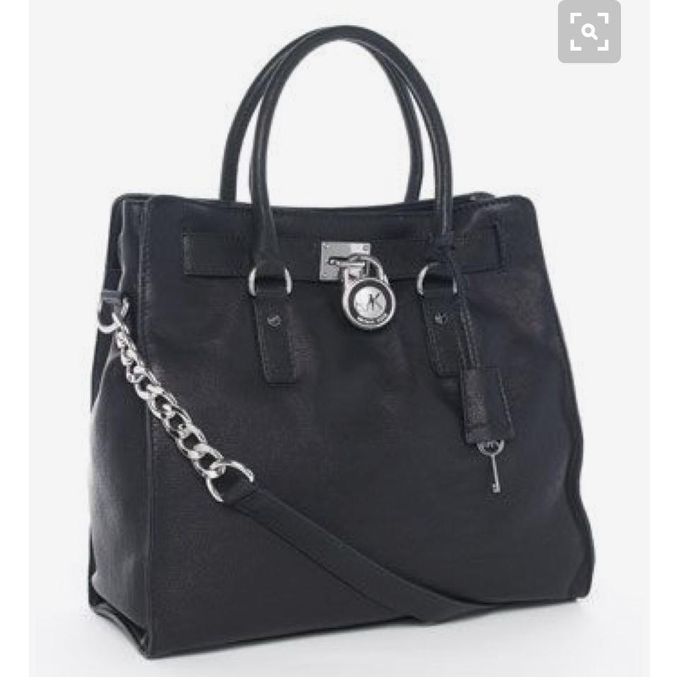 34008ddac14bcc Michael Kors Hamilton Chain Large with Silver Hardware Black Leather ...