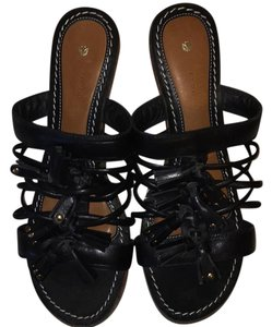 Leifsdottir Leather Summer Chic Black Wedges