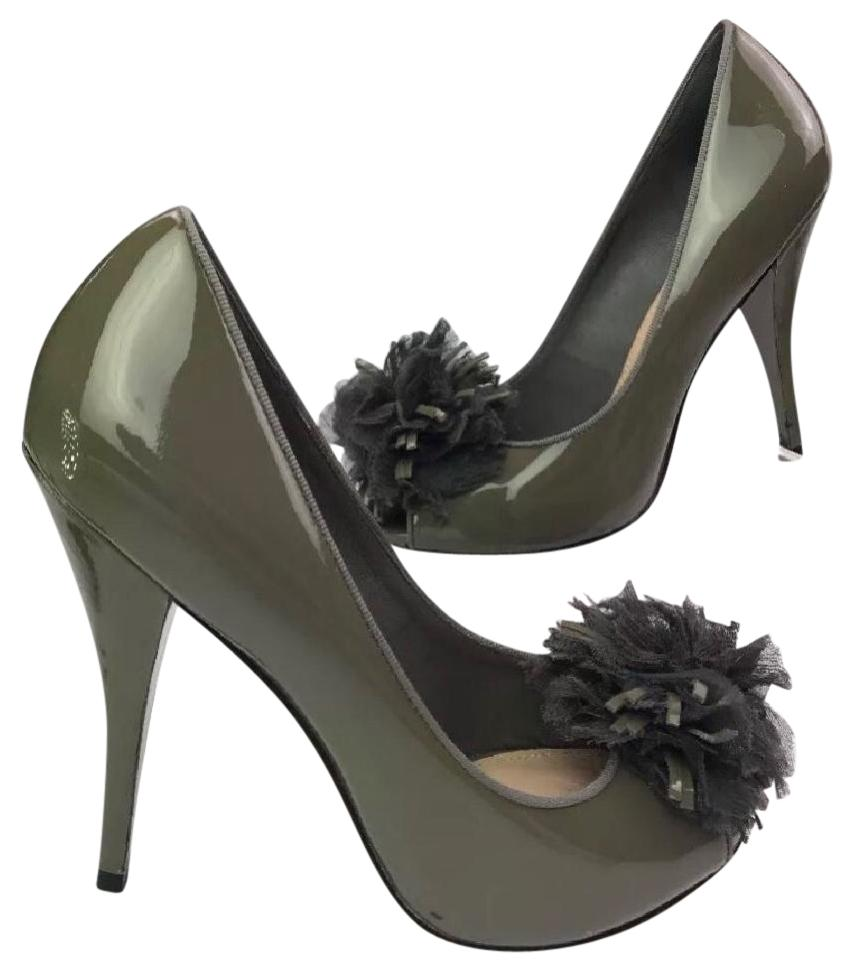 f40151c590db Saks Fifth Avenue Grey Pom Pom Patent Leather Peep Toe Heels Pumps ...
