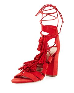 Loeffler Randall Red Tassel Summer Flame Red Sandals