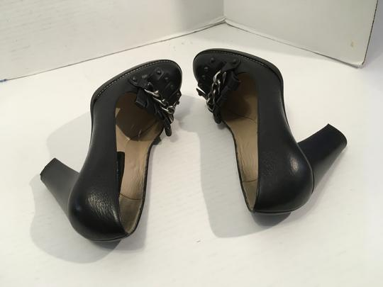 Michael Kors Silver/Black Italy Make an offer Black thick all Italian leather stack wood heels gorgeous leather tassels silv/black metal chain Pumps