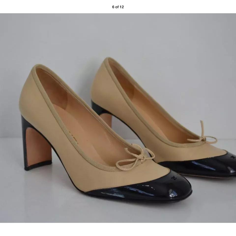 fad521e52a Chanel W Black/Tan Leather/Patent Leather Cap W/ Bow/Heels/Shoes S 39.5  Pumps Size US 9 Regular (M, B) - Tradesy