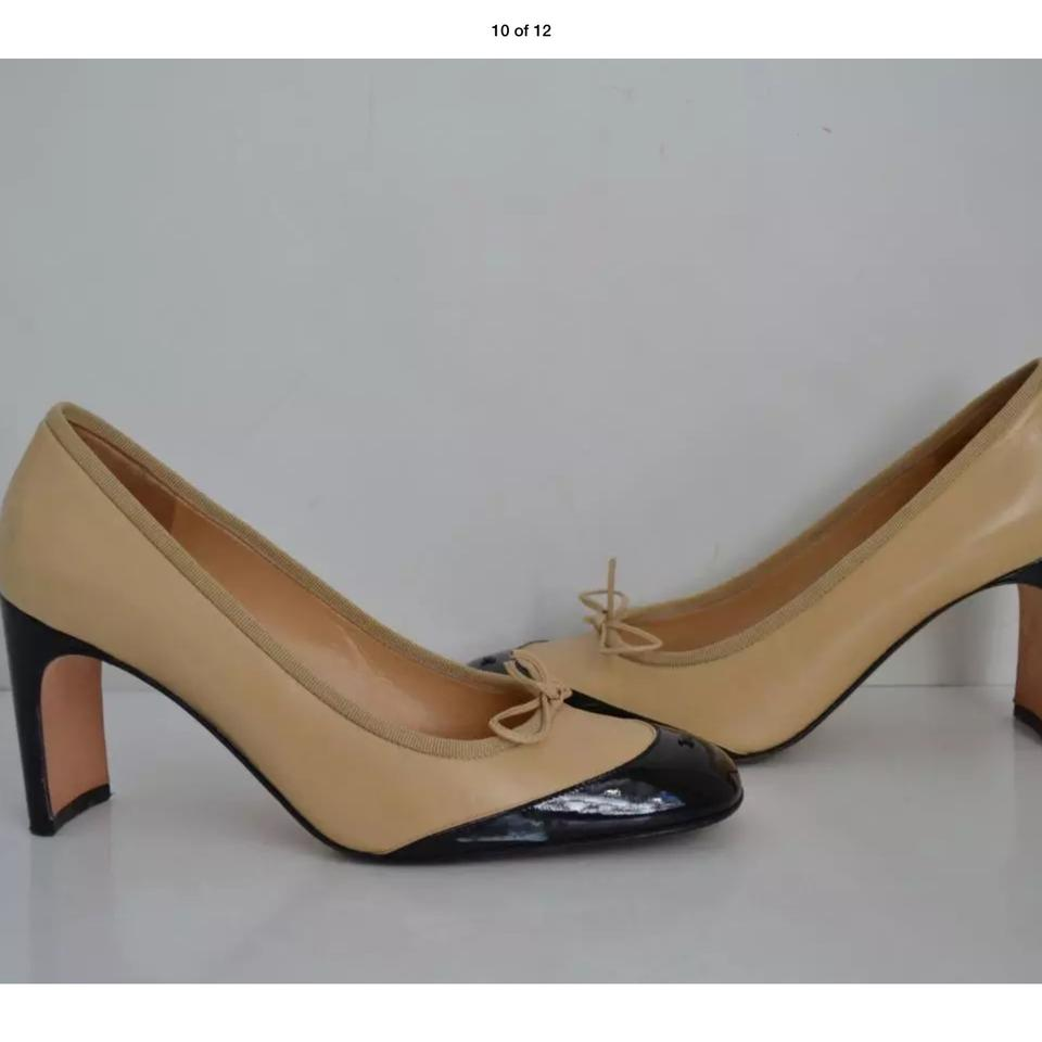 52170bd8ad Chanel W Black/Tan Leather/Patent Leather Cap W/ Bow/Heels/Shoes S ...