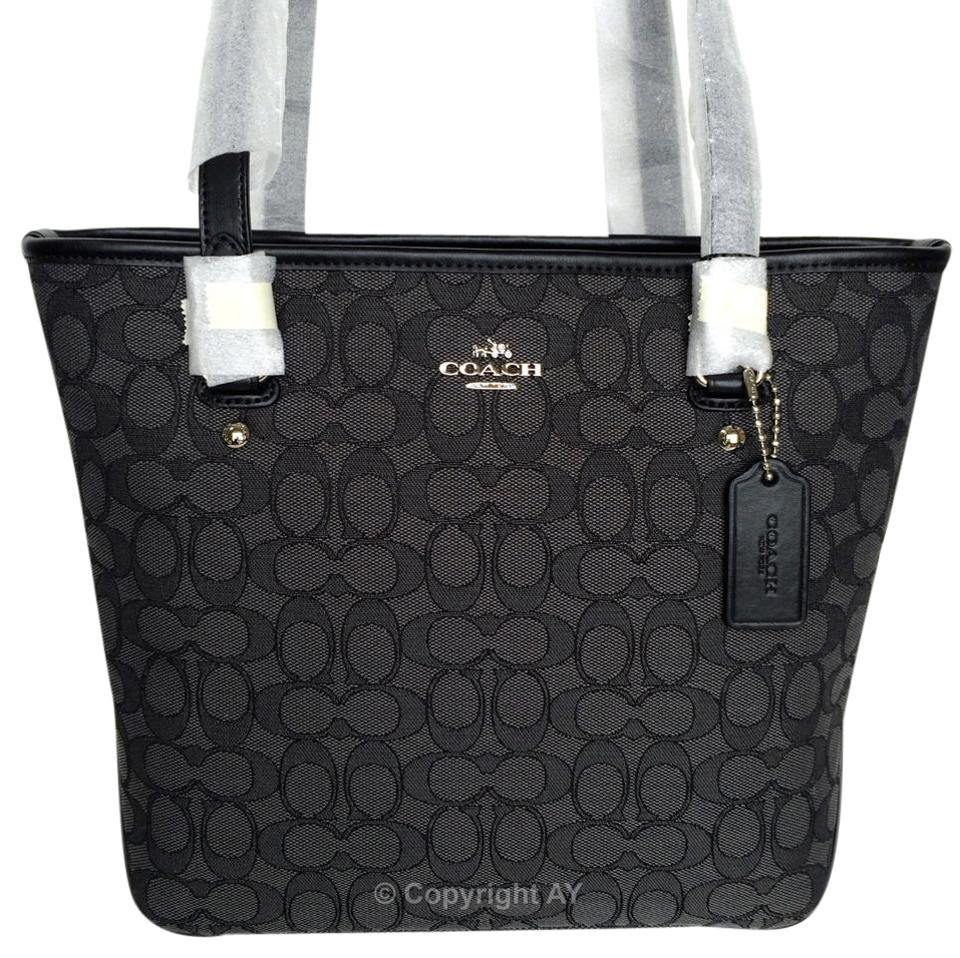 e040a2c44cb5 Coach Outline Zip Top F58282 Black Smoke   Black Signature Jacquard Canvas    Leather Tote