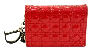 Dior Red Cannage Patent Card Holder Wallet