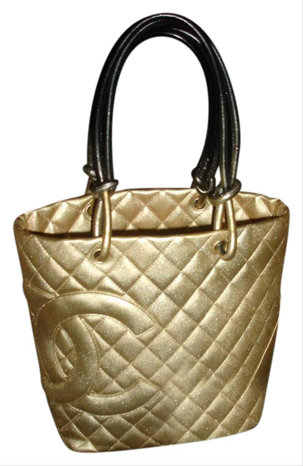 02d34b2f16e4a7 Chanel Cambon Stunning Italy Gold Black Lambskin Leather Tote - Tradesy