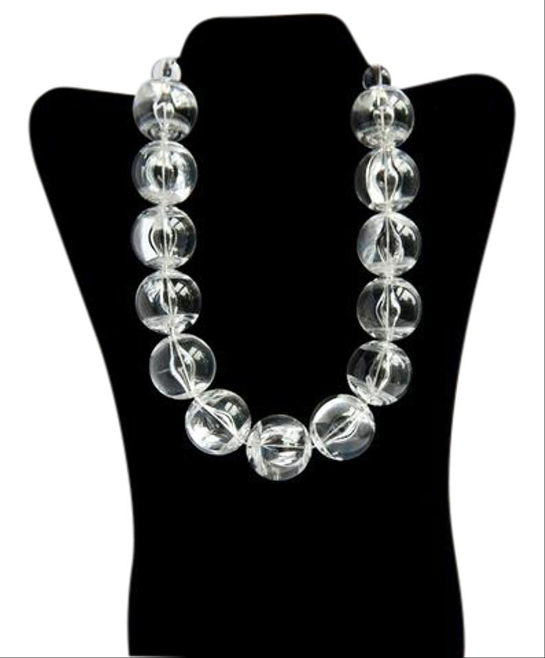 Cool Clear Plastic Ball Statement Necklace