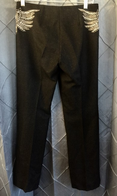 Tory Burch Wool Applique Embellished Eclectic Formal Trouser Pants Charcoal Grey