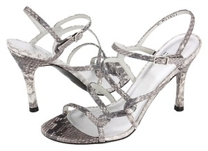Rebecca Minkoff Knockout Strappy Silver Snake Sandals