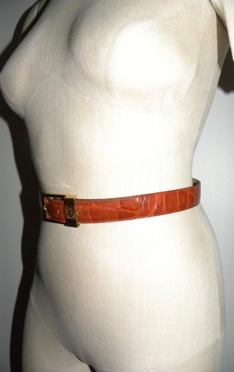 Anne Klein Vintage Cognac Croc Stamp Leather Belt