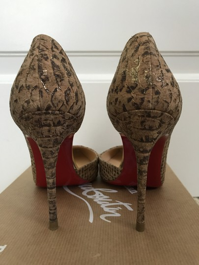 Christian Louboutin Cork Pointed Toe D'orsay Beige Pumps