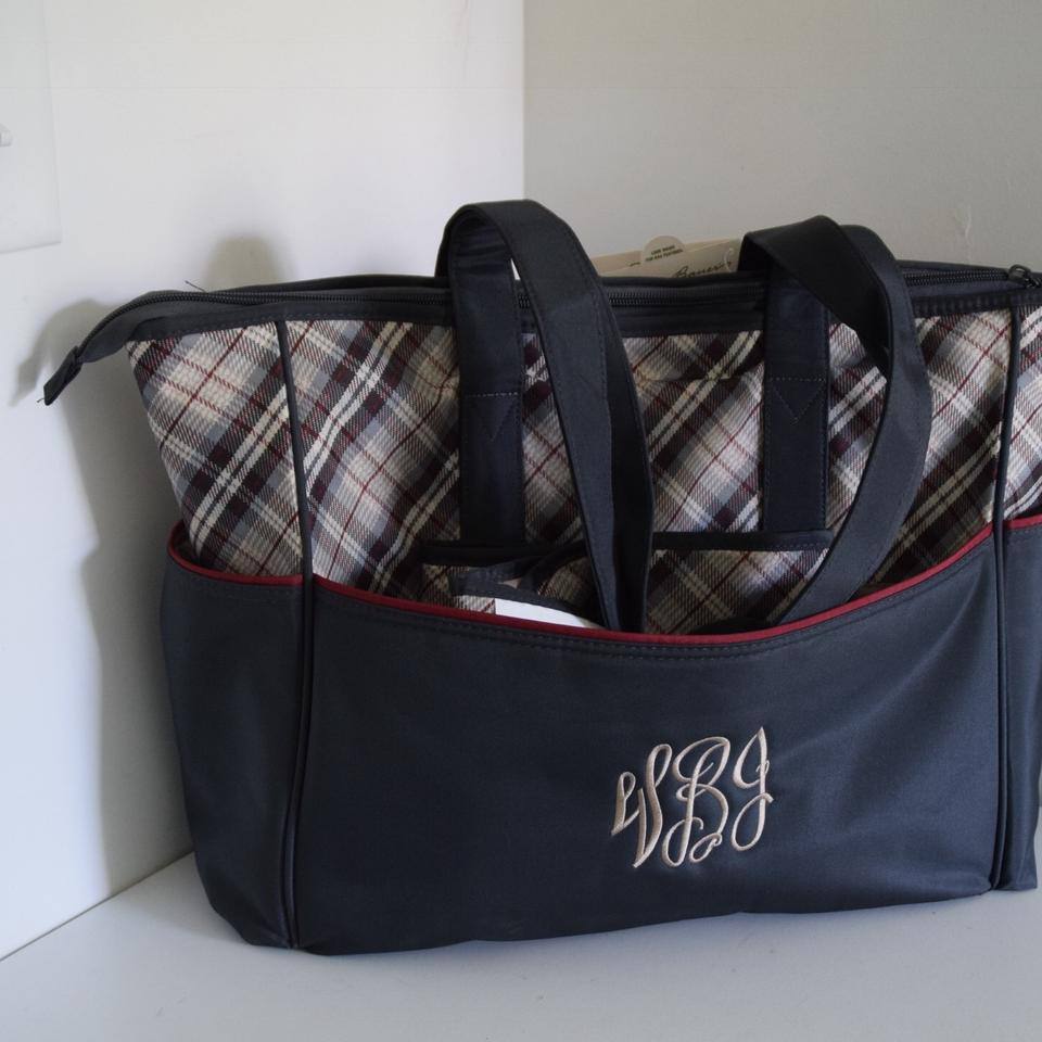 eddie bauer gray and red nylon fairview tote diaper bag tradesy. Black Bedroom Furniture Sets. Home Design Ideas