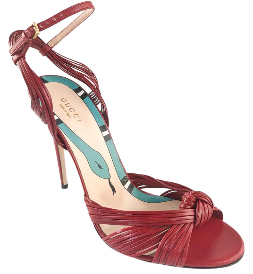 b0ee8811a529a Gucci Red Allie Leather Knotted Strappy Heels Sandals Size EU 40 ...