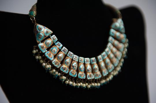 Handmade Vintage Blue weeding Typical India Necklace