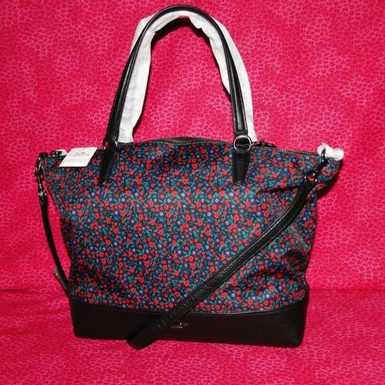 Coach Floral Nylon & Satchel in Red/Black