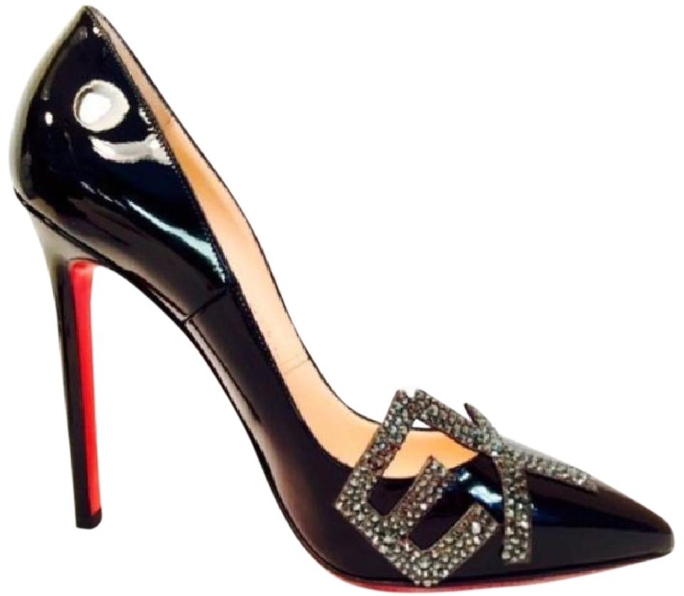 88efef44e95 Christian Louboutin Black Sex Pigalle Patent Strass Crystal High Heel Red  Sole Lady Fashion Toe Pumps Size EU 38 (Approx. US 8) Regular (M, B)