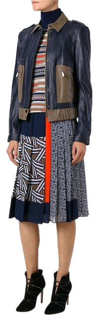 "Item - Blue Orange ""Cici "" Polyester Print Multi -color Pleated Skirt Size 12 (L, 32, 33)"