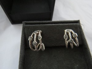 David Yurman Confetti Collection SS/Pave' Black Diamond Earrings