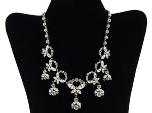 Handmade Vintage Silver Tone Necklace with crystals rhinestone