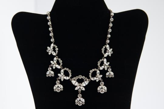 Handmade Vintage Silver Tone Necklace and Earrings with crystals rhinestone