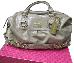 Coach Patent Leather Nude Satchel in Camel
