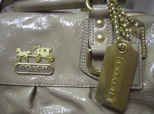 Coach Patent Leather Nude Shoulder Satchel in Camel
