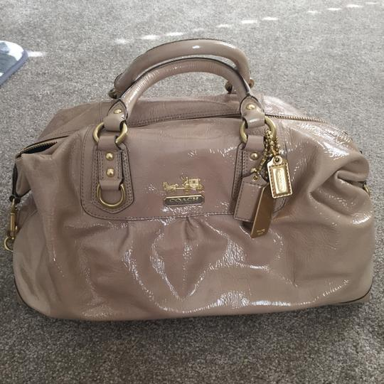 Coach Patent Leather Nude Shoulder Satchel in Camel Image 7