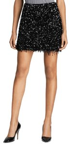 Kate Spade Sparkle Party Sequin Fringe Hem Mini Mini Skirt black